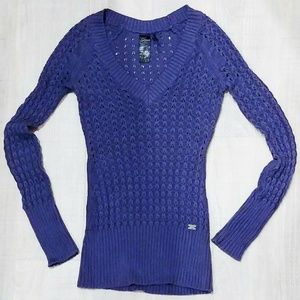 GUESS LA Cobalt Blue Crochet V Neck Sweater XS